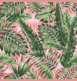 tropical green jungle pink plants background vector image vector image