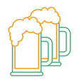 two beer glass foam drink fresh vector image