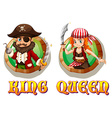 Viking king and queen on badges vector image vector image