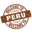 welcome to peru brown round vintage stamp vector image vector image
