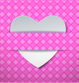 white paper heart on pink pattern background vector image