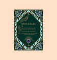 wedding invitation template with peacock vector image