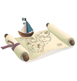 Treasure map and toy boat vector image