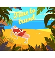 Tropical beach sun summer santa claus holiday vector image