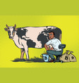 african businessman mines bitcoins milking a cow vector image vector image