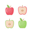apple flat icon set vector image vector image