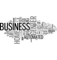 automated business center systems text word cloud vector image vector image