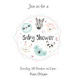 baby shower invitation with cute animals vector image vector image