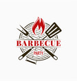 barbecue grill logo bbq party with fire flame on vector image vector image