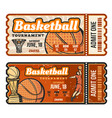 basketball sport game ticket vector image vector image