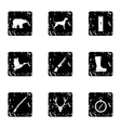 Bird hunting icons set grunge style vector image vector image