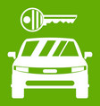 car and key icon green vector image vector image