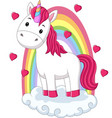 cartoon bapony unicorn standing on clouds vector image vector image