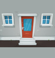 cartoon house door and windows in the street vector image vector image