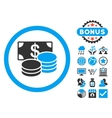 Cash Flat Icon with Bonus vector image vector image
