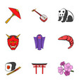 chinese symbol icons set cartoon style vector image vector image