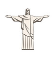 christ redeemer statue in flat style vector image vector image