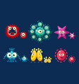 collection cute germs set funny colorful vector image