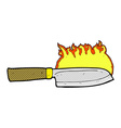 comic cartoon kitchen knife on fire vector image vector image