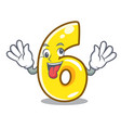 crazy number six isolated on the mascot vector image