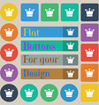 Crown icon sign Set of twenty colored flat round vector image vector image