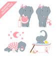 cute elephant baby girl celebrating newborn isolat