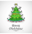 Decorated Pine Tree on Christmas card vector image