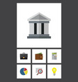 flat icon incoming set of billfold bank vector image vector image
