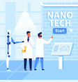 flat nano tech research lab scientists and robot vector image vector image