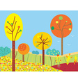 Funny fall landscape with flowers and trees vector image vector image