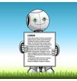 funny kid robot showing advert board vector image vector image