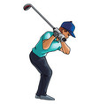 golf player swings with a golf club on white vector image vector image