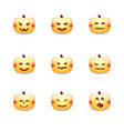 halloween pumpkin icons emoticon set cute vector image