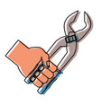 hand with plier vector image vector image