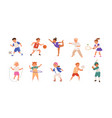 happy children playing sport game doing physical vector image