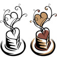 heart shaped cup coffee simple stencil vector image vector image
