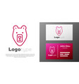 logotype line bear head icon isolated on white vector image vector image