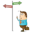Man with sign cartoon vector image vector image