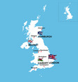 map united kingdom and ireland vector image vector image