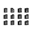 perspective black company icons and buildings vector image