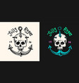 pirate skull at anchor logo jolly roger vector image vector image