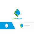 premium water droplet and leaves logo combination vector image