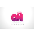 qn q n letter logo with pink purple color and vector image vector image
