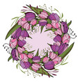round frame with tulips and herbs on white floral vector image vector image