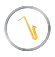 Saxophone icon in cartoon style isolated on white vector image