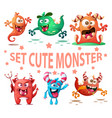 set cute monster funny characters vector image