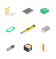 set of icons office and school flat 3d isometric vector image