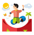 skateboarding flat style colorful cartoon vector image
