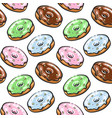 tasty donut seamless pattern hand drown vector image vector image