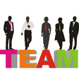 Team on colored letters vector image vector image